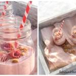 Schnee küsst Himbeer-Cheesecake-Smoothie
