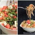 Erfrischung im See und auf dem Teller | Spaghetti-Wassermelone-Salat mit frischer Minze