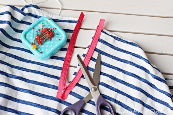 DIY Upcycling Sweatshirt Reissverschluss rheinherztelbe 4