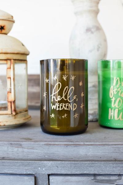 Kerzenlicht Weinflaschen DIY Handlettering rheinherztelbe