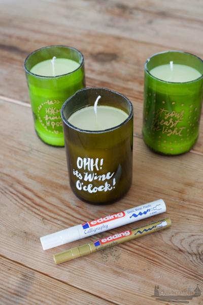 DIY Weinflaschen Kerzenlicht Handlettering