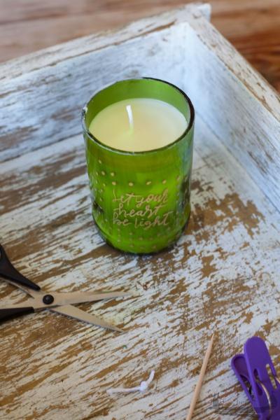 Kerzenlicht DIY Handlettering Weinflaschen rheinherztelbe