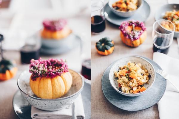 Köstliche Kürbiszeit | Couscous Salat mit Kürbis und Kichererbsen rheinherztelbe
